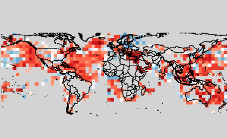 Improvement (red) in annual temperature forecasts after accounting for parameter uncertainty